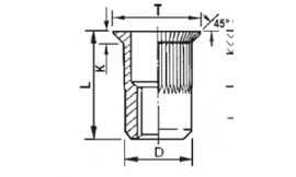Knurled cylindrical threaded insert, open end, countersunk head in steel zinc plated
