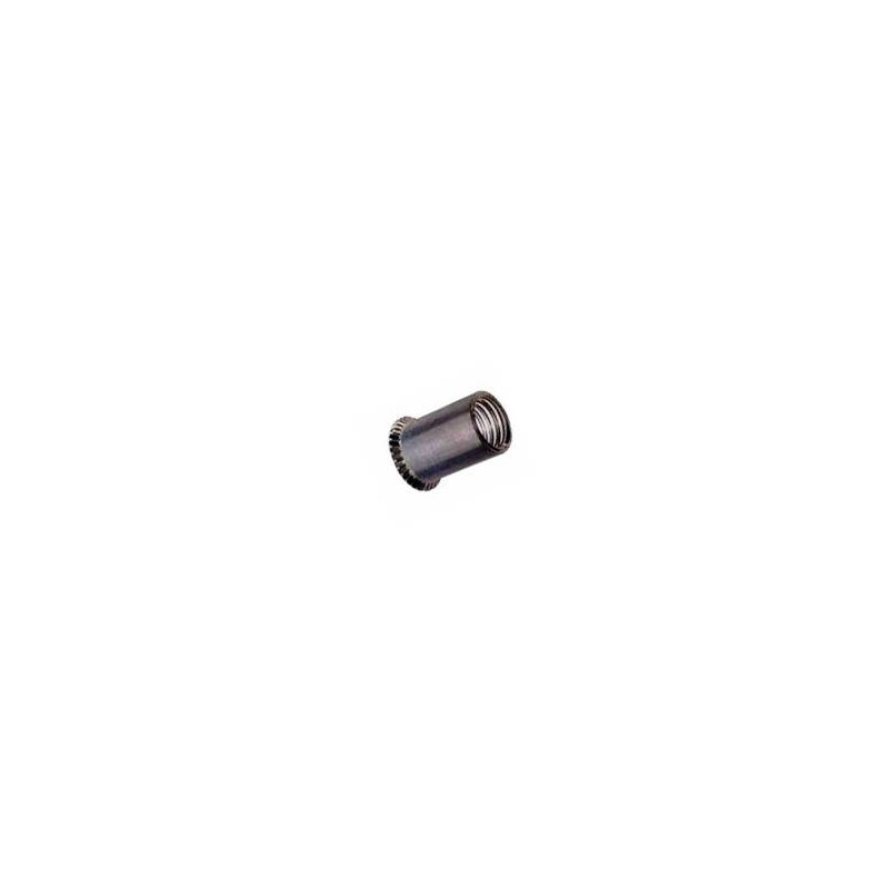 Ecrous à sertir, fût cylindrique lisse, ouvert, tête fraisée en acier zingué