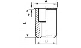 Ecrous à sertir, fût cylindrique lisse, ouvert, tête affleurante