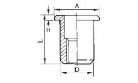 Cylindrical threaded insert, open end, flat head