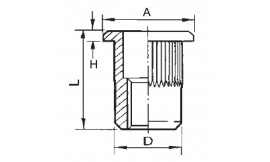 Knurled cylindrical threaded insert, open end, flat head