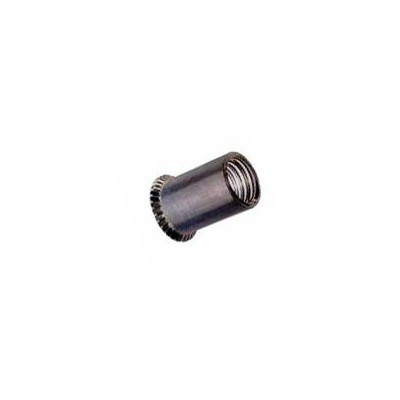 Cylindrical threaded insert, open end, countersunk head in steel zinc plated