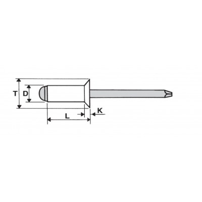 Blind rivet with countersunk head, aluminum body and steel mandrel