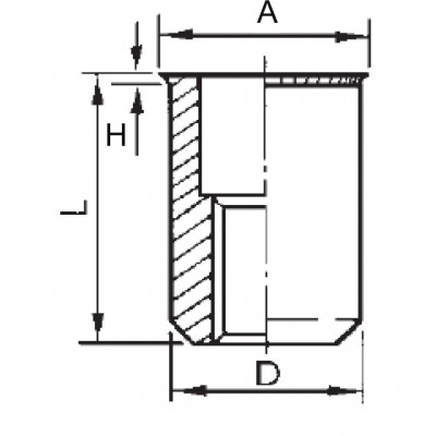 Cylindrical threaded insert, open end, reduced head