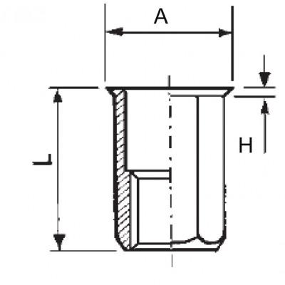 Hexagonal threaded insert, open end, reduced head