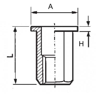 Hexagonal threaded insert, open end, flat head