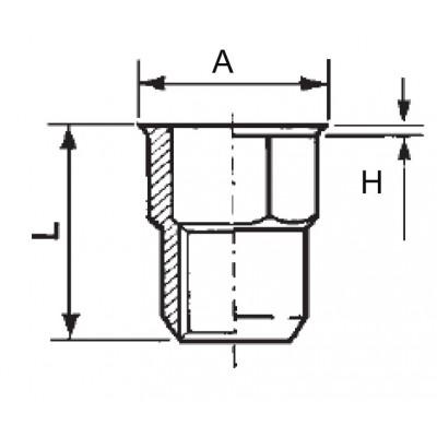 Semi-hexagonal threaded insert, open end, reduced head