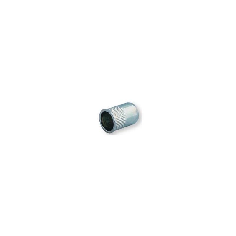 Ecrou à sertir M8 - Affleurant - Cannelé - Inox - Ouvert