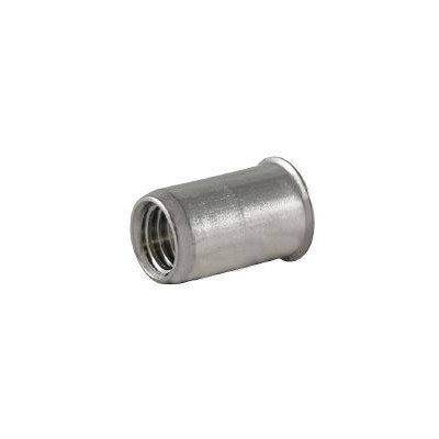 Ecrou à sertir M10 - Affleurant - Cylindrique - Acier - Ouvert
