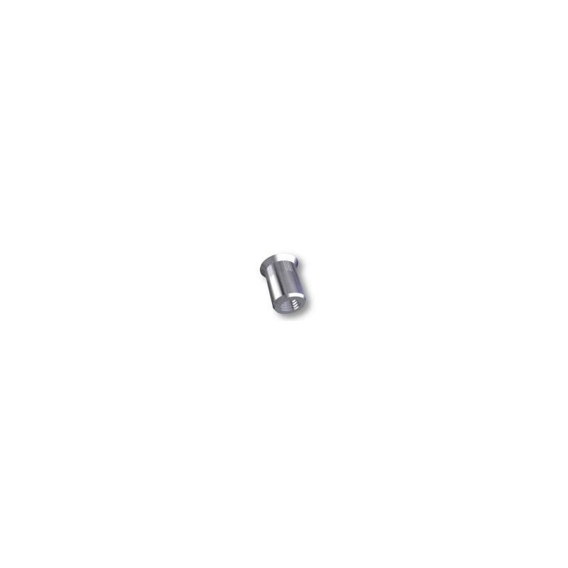 Ecrou à sertir M5 - Fraisé - Cannelé - Inox - Ouvert