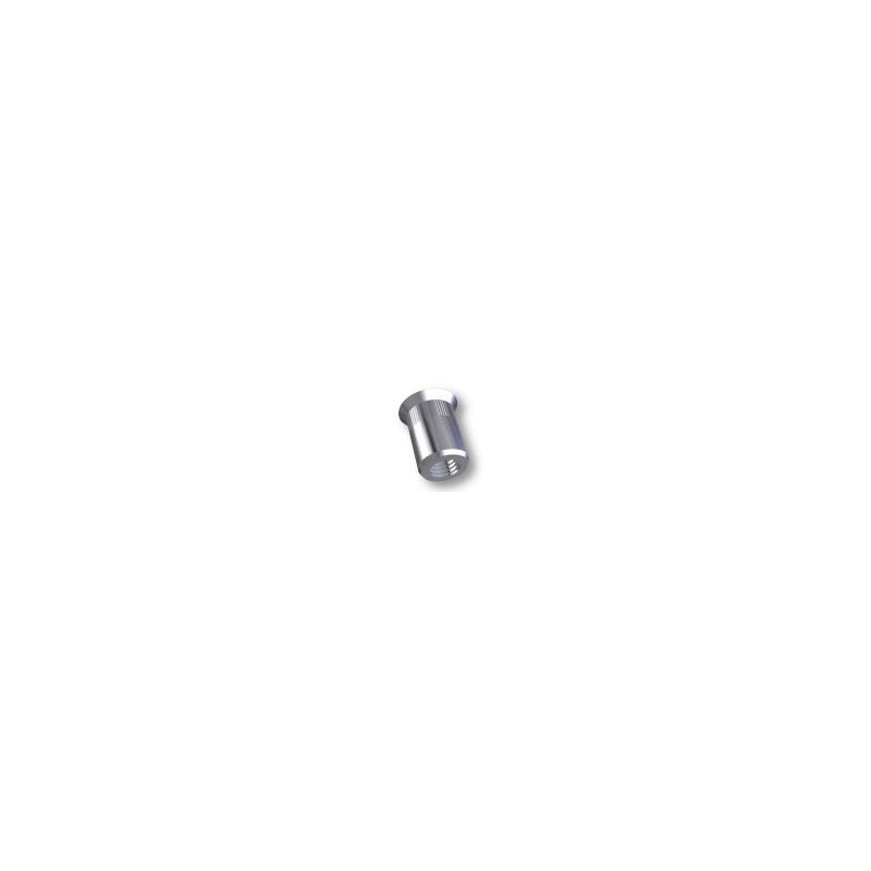 Ecrou à sertir M8 - Fraisé - Cannelé - Inox - Ouvert