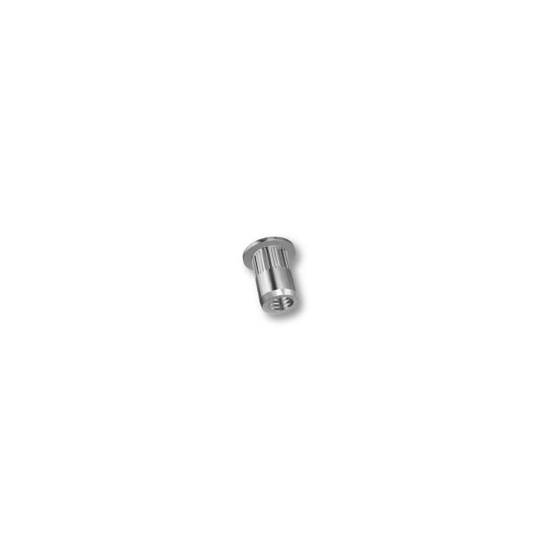 Ecrou à sertir M8 - Plat - Cannelé - Inox - Ouvert